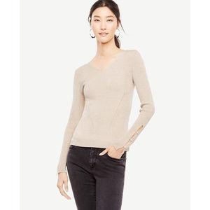 Ann Taylor Tan Gold Shimmer VNeck Metallic Sweater